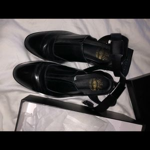 DNA footwear ankle strap loafers, black leather